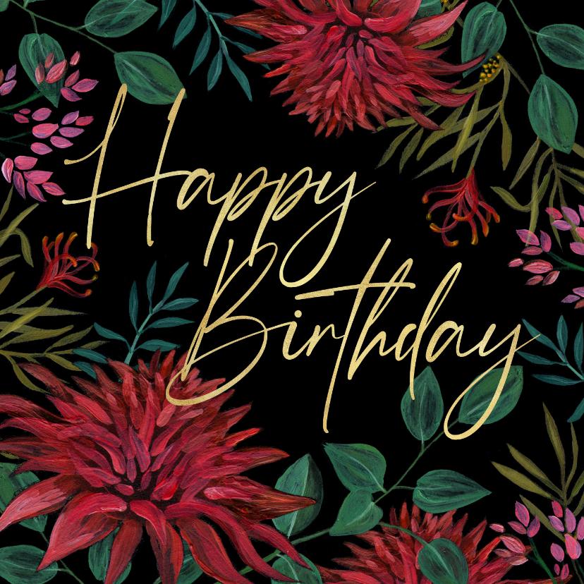 Verjaardagskaarten - Verjaardagskaart bloemen happy birthday goud
