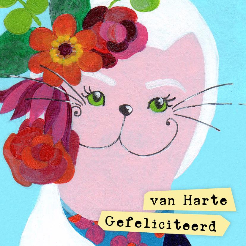 Verjaardagskaarten - Verjaardagskaart bloemen kat