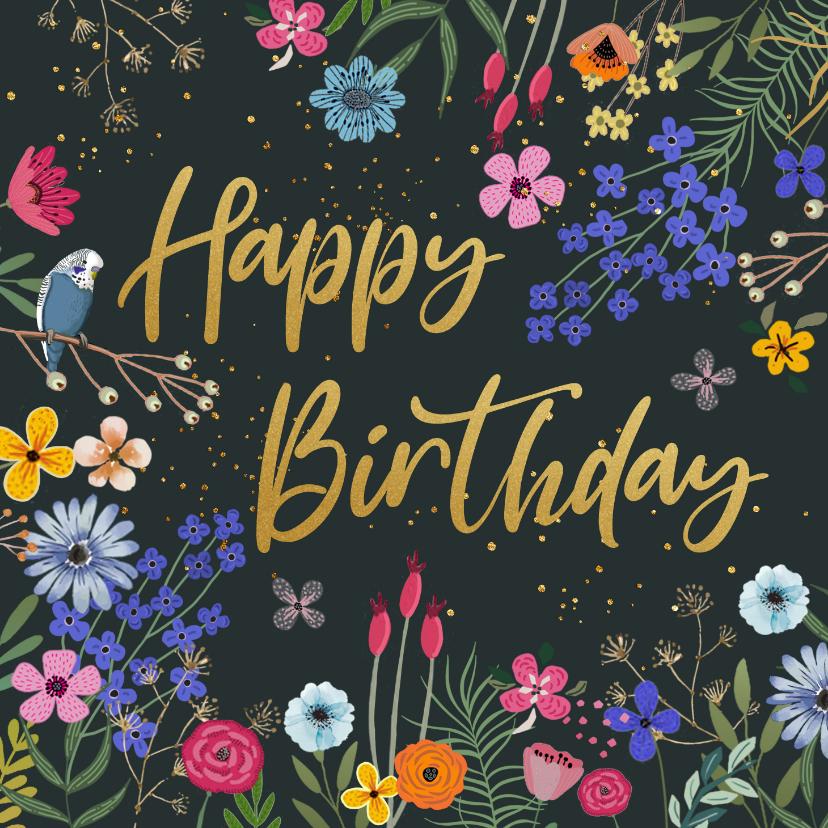 Verjaardagskaarten - Verjaardagskaart bloemen met glitterlook