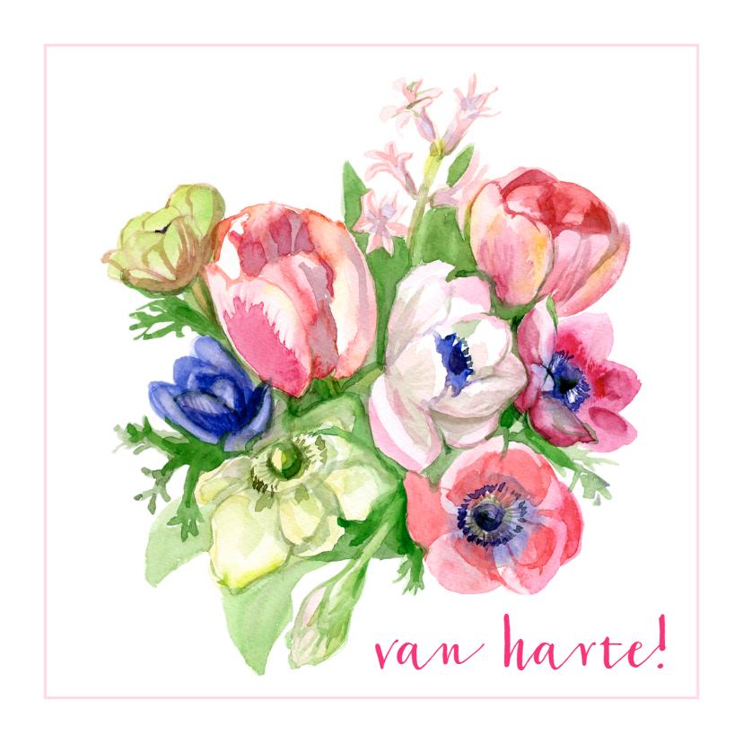 Verjaardagskaarten - Verjaardagskaart Bloemen Van Harte