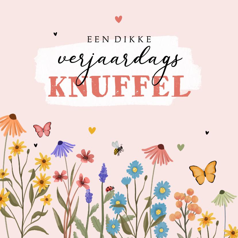 Verjaardagskaarten - Verjaardagskaart bloemen verjaardagsknuffel vlinders