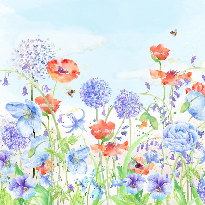 Verjaardagskaarten - Verjaardagskaart bloemenaquarel