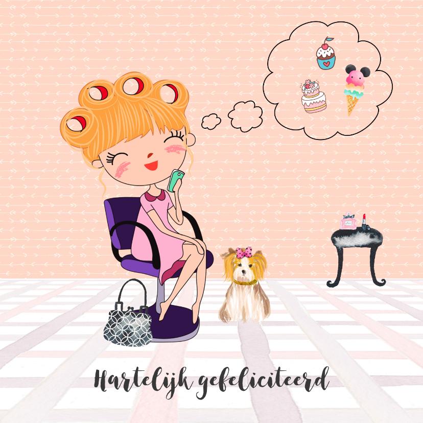 Verjaardagskaarten - Verjaardagskaart blonde dame bij de kapper