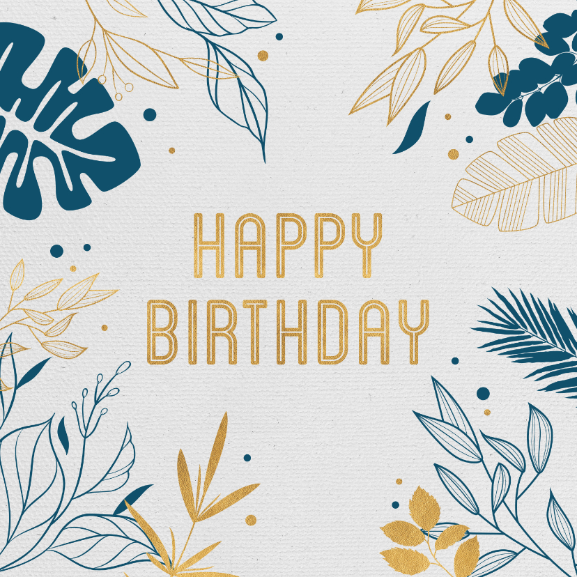 Verjaardagskaarten - Verjaardagskaart botanical gold