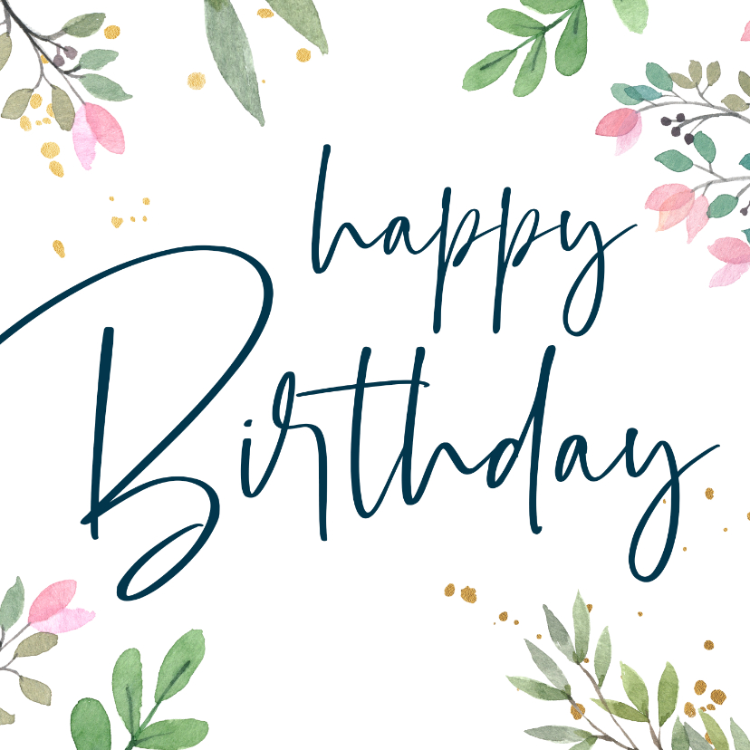 Verjaardagskaarten - Verjaardagskaart botanisch goud