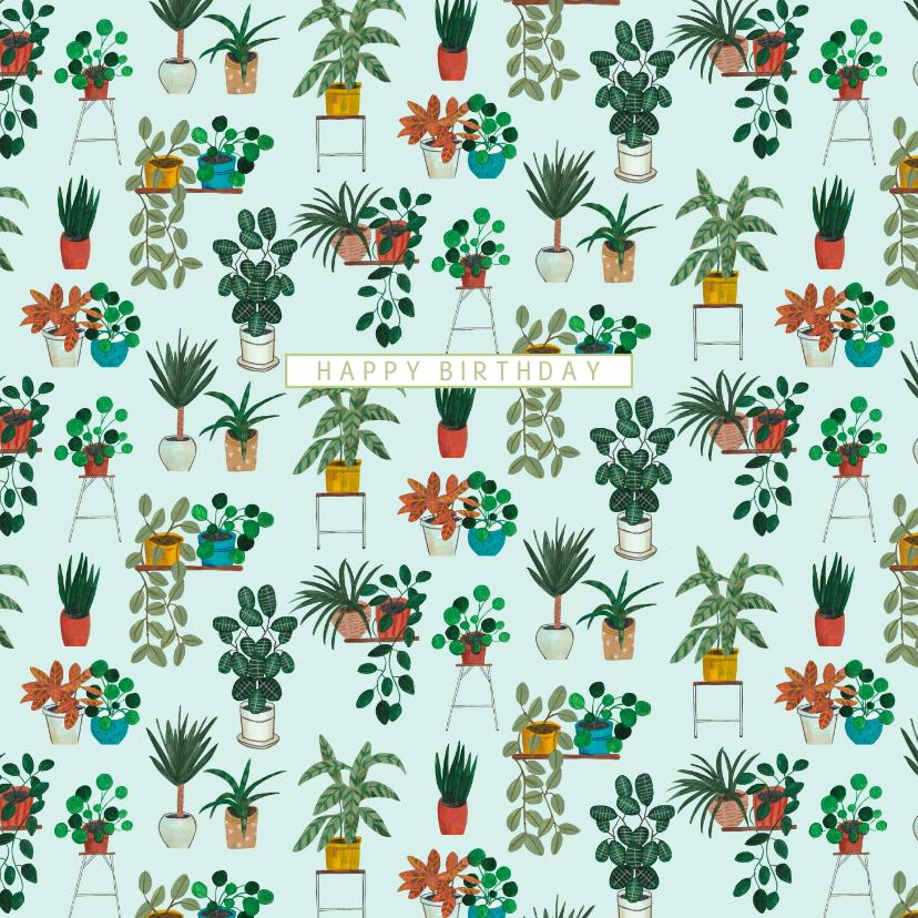 Verjaardagskaarten - Verjaardagskaart botanisch kamerplanten