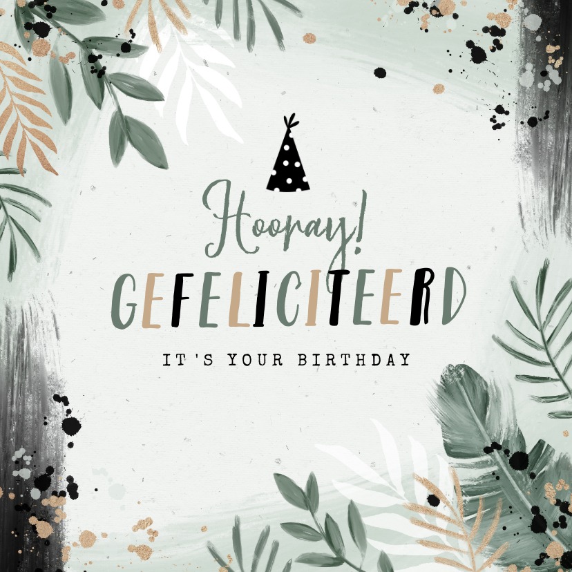 Verjaardagskaarten - Verjaardagskaart botanisch spetters zwart groen feesthoed