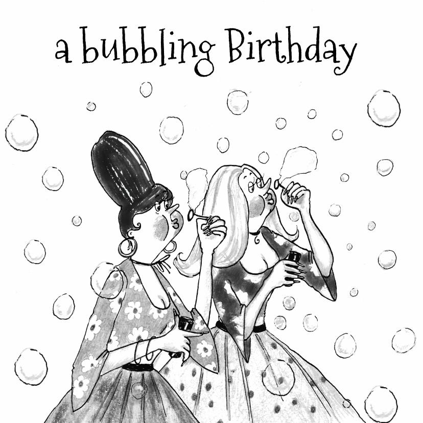 Verjaardagskaarten - Verjaardagskaart bubbling birthday