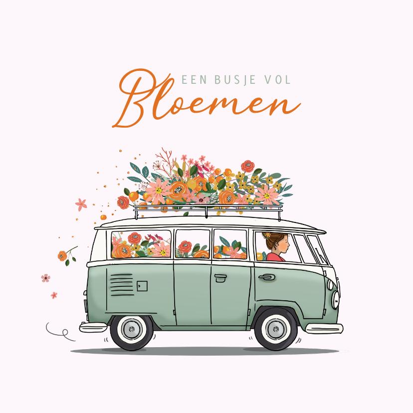 Verjaardagskaarten - Verjaardagskaart busje met bloemen