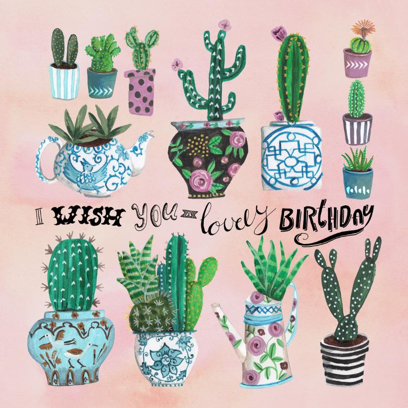 Verjaardagskaarten - Verjaardagskaart cactus Birthday