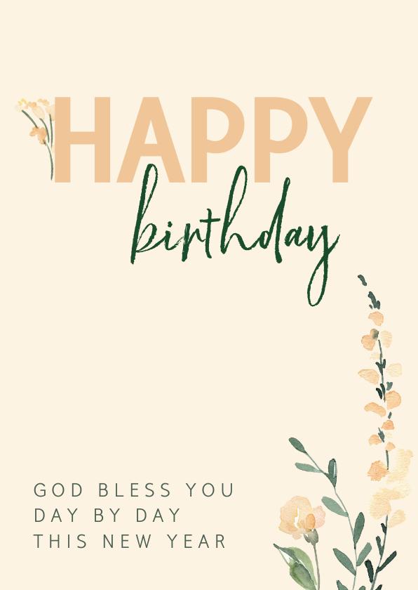 Verjaardagskaarten - Verjaardagskaart christelijk pastelbloem