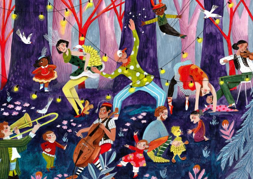 Verjaardagskaarten - Verjaardagskaart circus in het bos