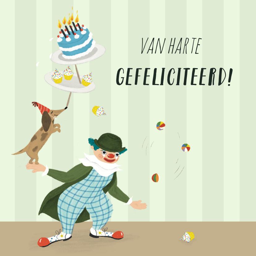 Verjaardagskaarten - Verjaardagskaart circus met clown taart cupcakes en hond
