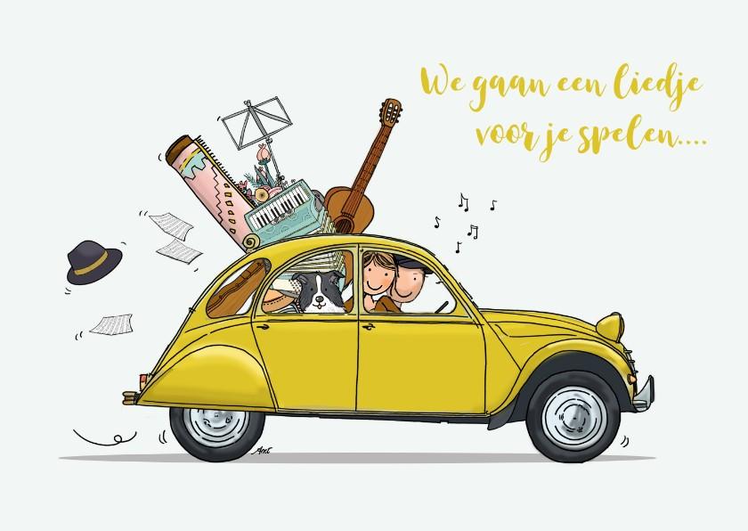 Verjaardagskaarten - Verjaardagskaart Citroen eend met muzikanten