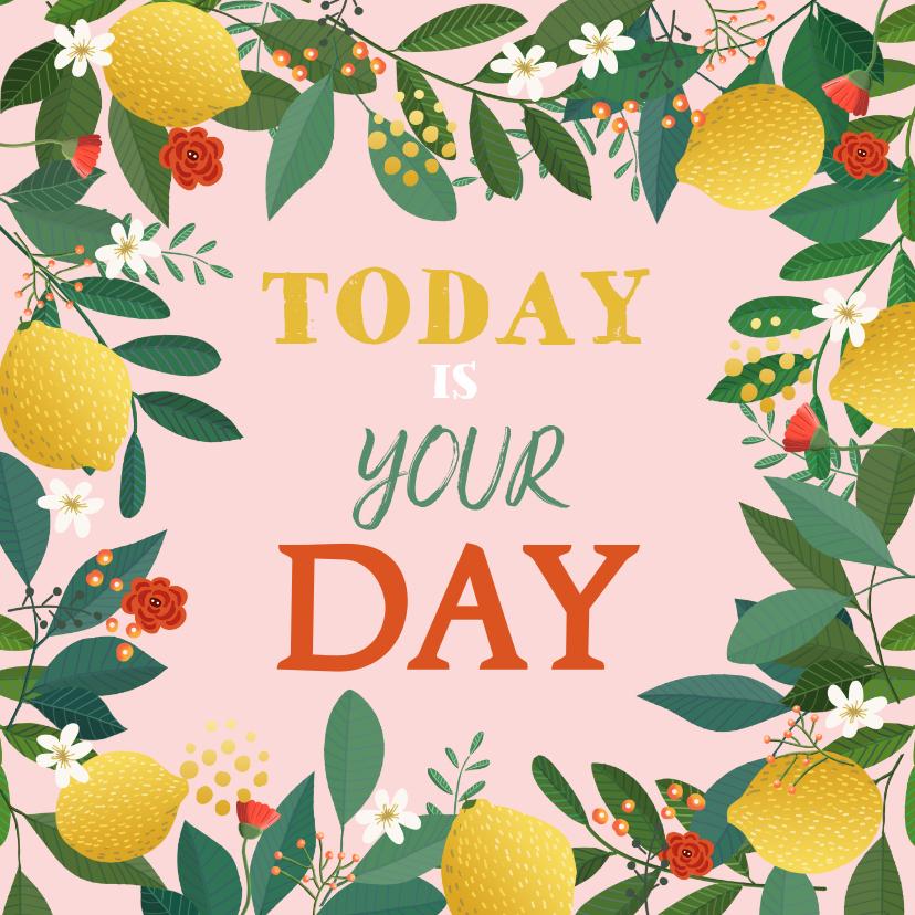 Verjaardagskaarten - Verjaardagskaart citroen met bloemen