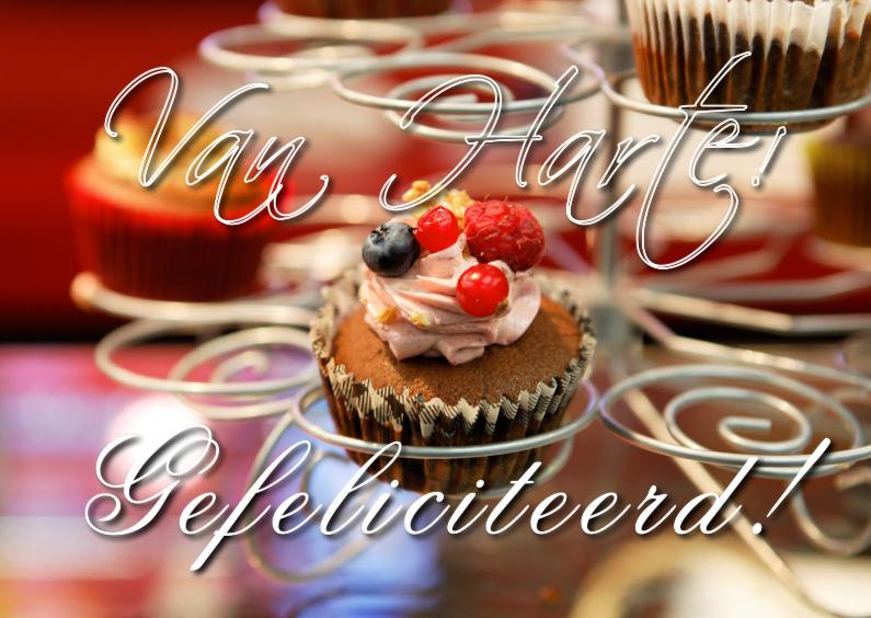 Verjaardagskaarten - Verjaardagskaart close up cupcake