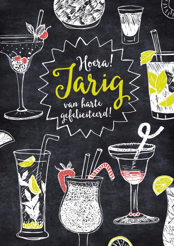 Verjaardagskaarten - Verjaardagskaart cocktails krijt