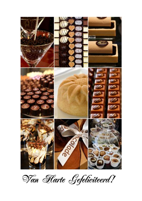 Verjaardagskaarten - Verjaardagskaart collage chocolade