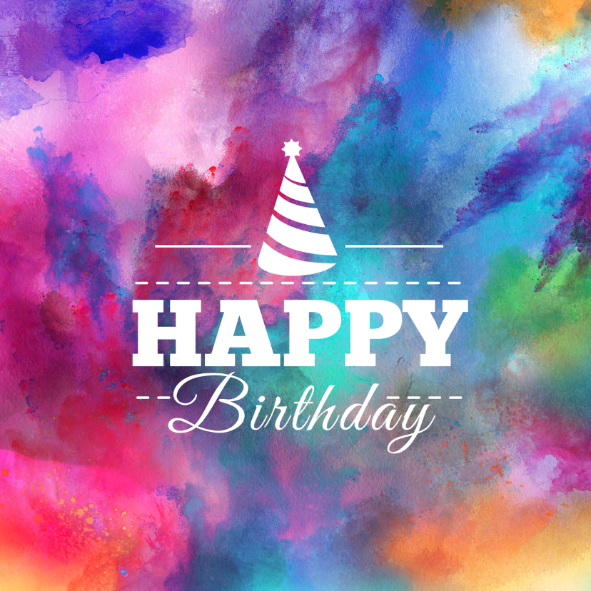Verjaardagskaarten - Verjaardagskaart color powder
