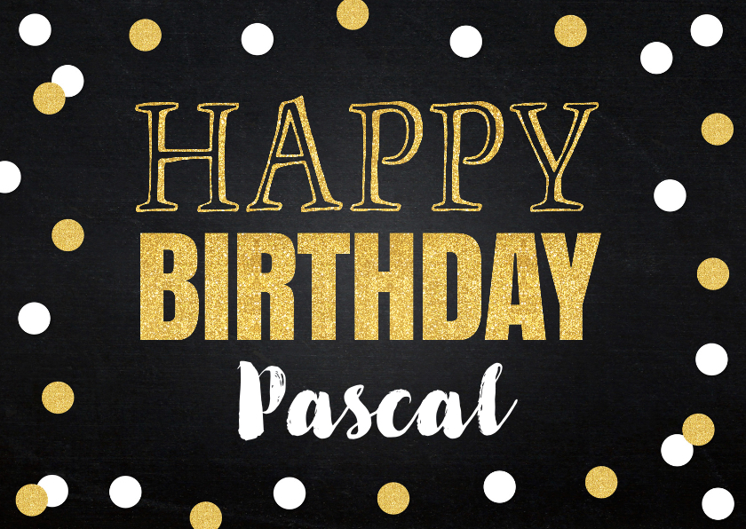 Verjaardagskaarten - Verjaardagskaart confetti goud krijtbord