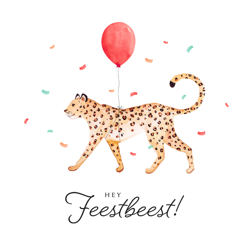 Verjaardagskaarten - Verjaardagskaart confetti luipaard jungle ballon feestbeest