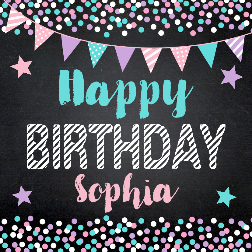Verjaardagskaarten - Verjaardagskaart confetti slinger sterren krijtbord