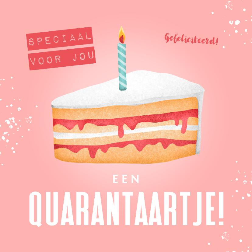 Verjaardagskaarten - Verjaardagskaart corona taartje quarantaine feestje vrouw