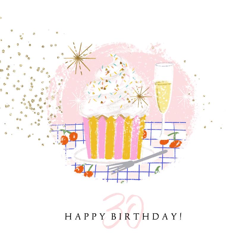 Verjaardagskaarten - Verjaardagskaart cupcake champagne sterren goud