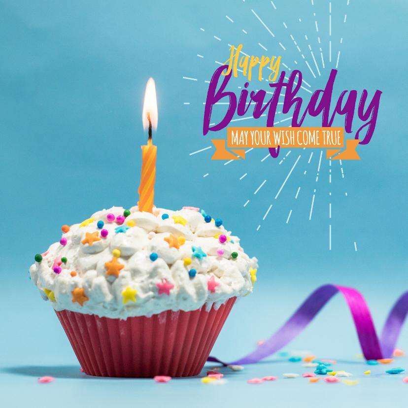 Verjaardagskaarten - Verjaardagskaart, cupcake met kleurrijke hagelslag en kaars