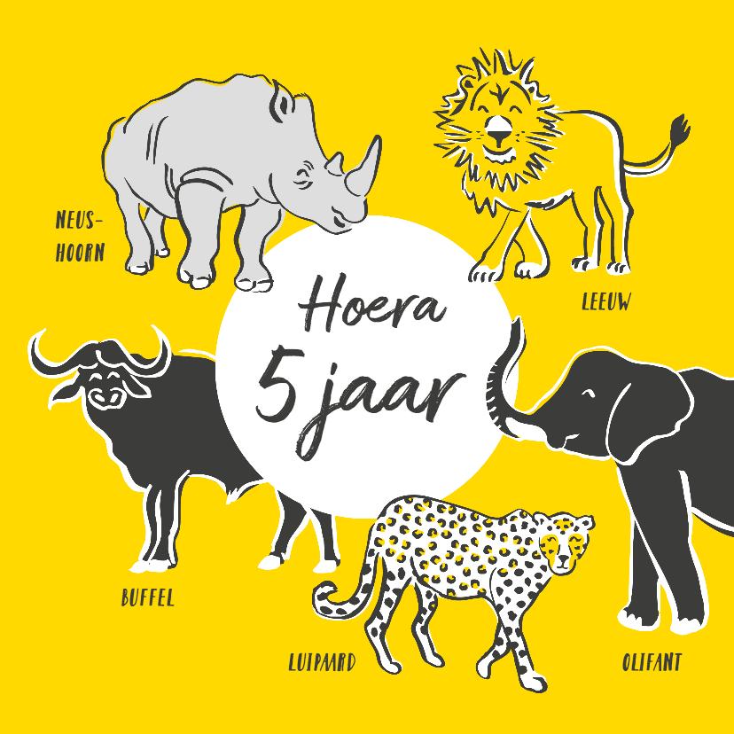 Verjaardagskaarten - Verjaardagskaart De grote vijf dieren