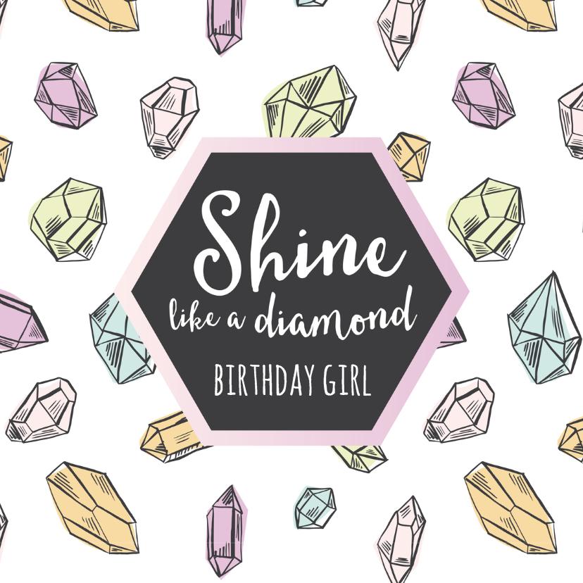 Verjaardagskaarten - Verjaardagskaart diamanten