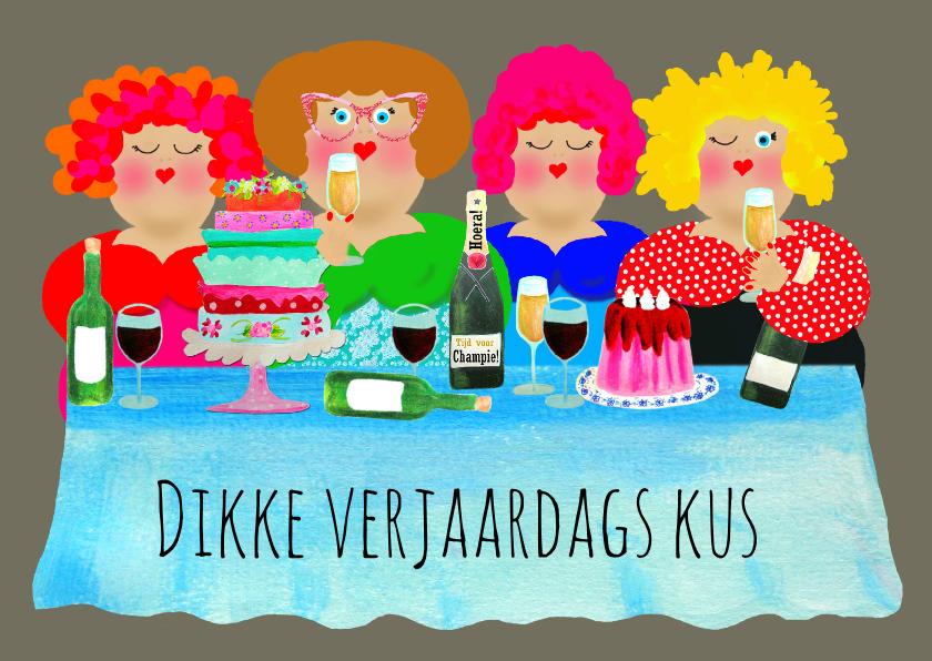 Verjaardagskaart Dikke Dametjes Kaartje2go