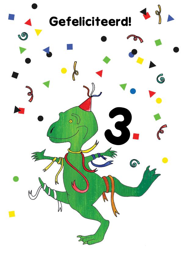 Verjaardagskaarten - Verjaardagskaart dino slingers en confetti
