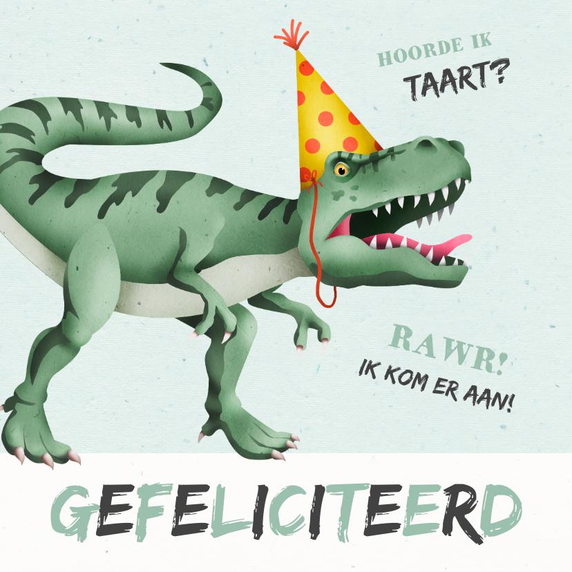 Spiksplinternieuw Verjaardagskaart dino t-rex taart stoer | Kaartje2go LD-05