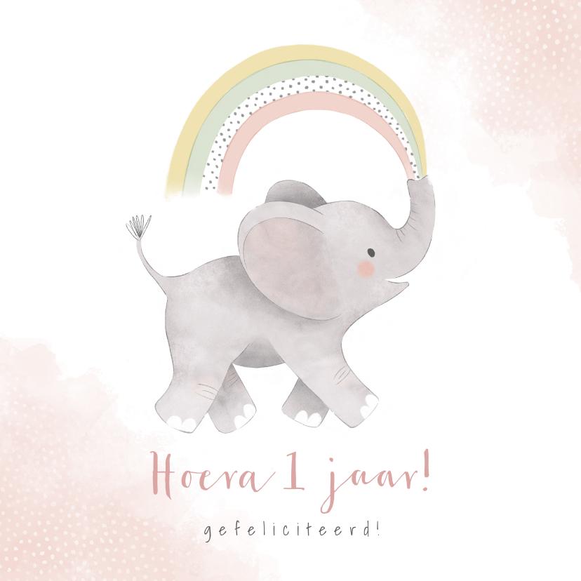 Verjaardagskaarten - Verjaardagskaart eerste verjaardag met olifantje & regenboog