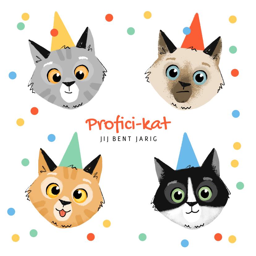 Verjaardagskaarten - Verjaardagskaart feestelijk katten confetti proficikat