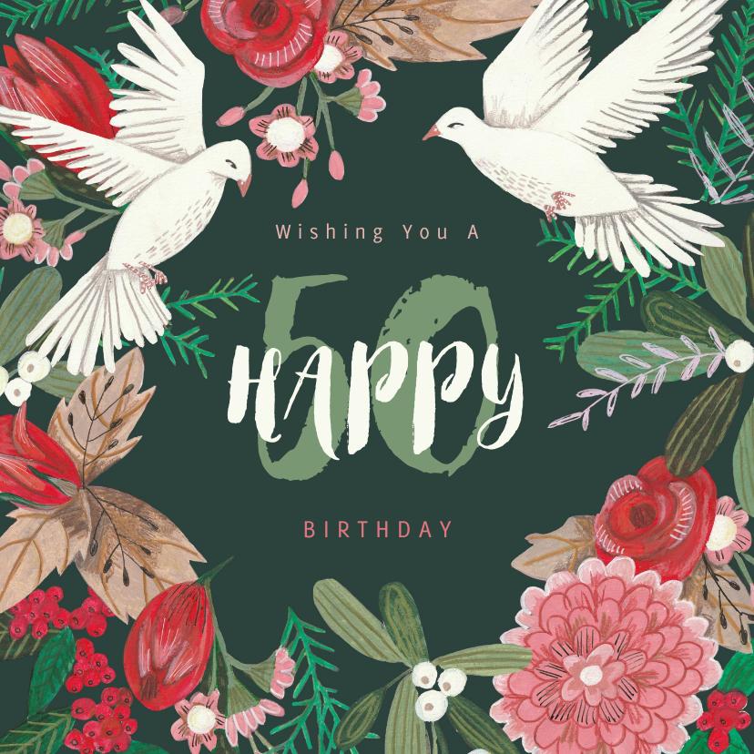 Verjaardagskaarten - Verjaardagskaart feestelijke winter bloemen en duiven
