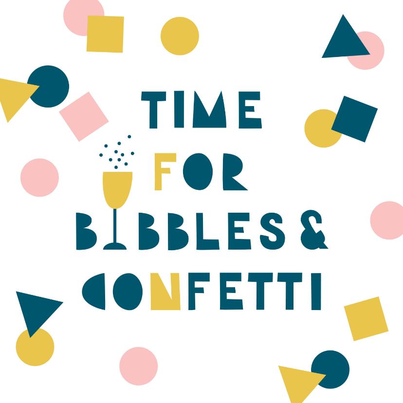 Verjaardagskaarten - Verjaardagskaart feestje bubbels en confetti