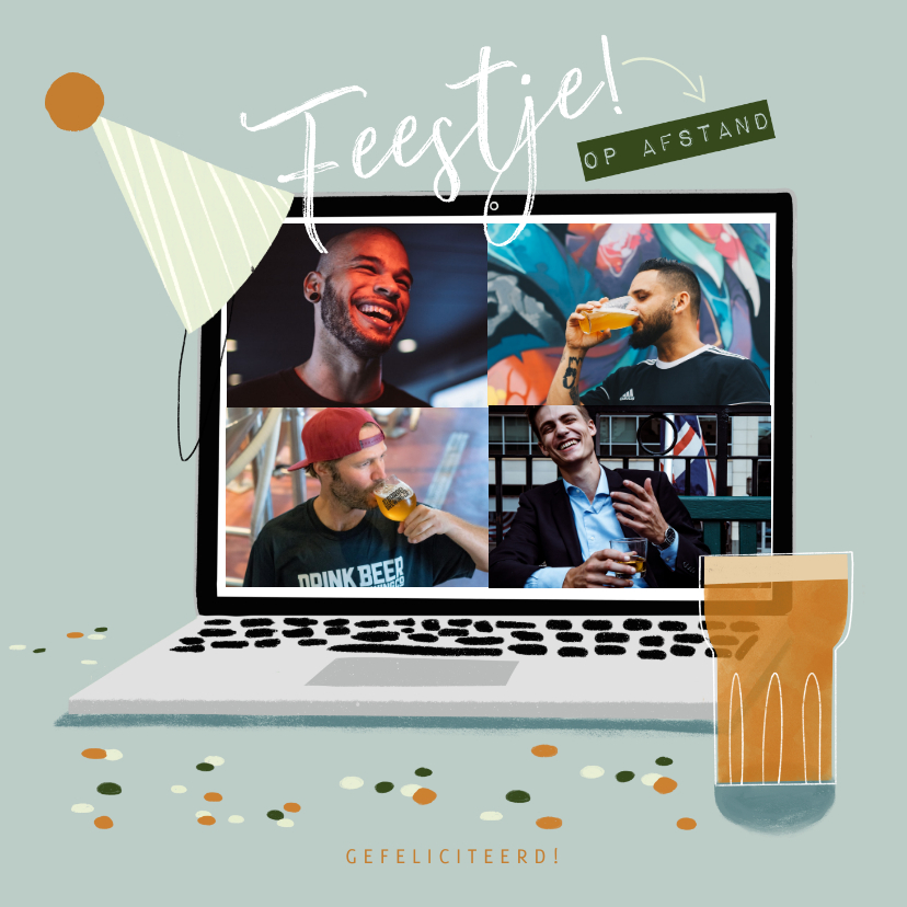Verjaardagskaarten - Verjaardagskaart feestje op afstand met laptop en bier