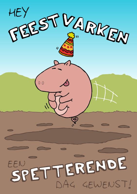Verjaardagskaarten - Verjaardagskaart Feestvarken