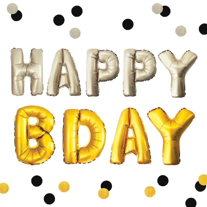 Verjaardagskaarten - verjaardagskaart felicitatie happy b-day