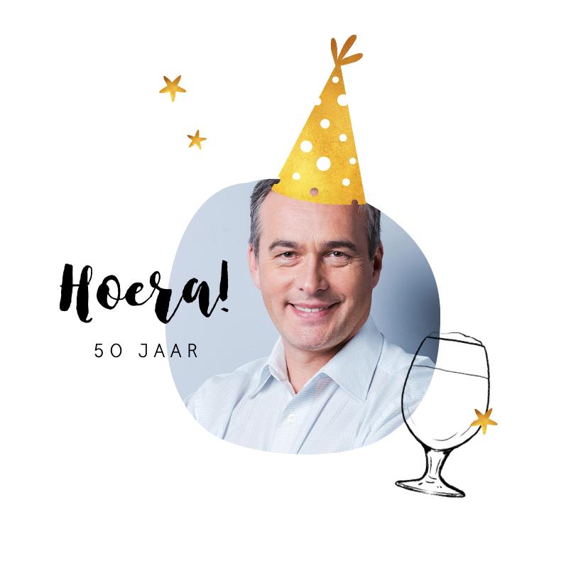 Verjaardagskaarten - Verjaardagskaart felicitatie humor feestmuts goud bier