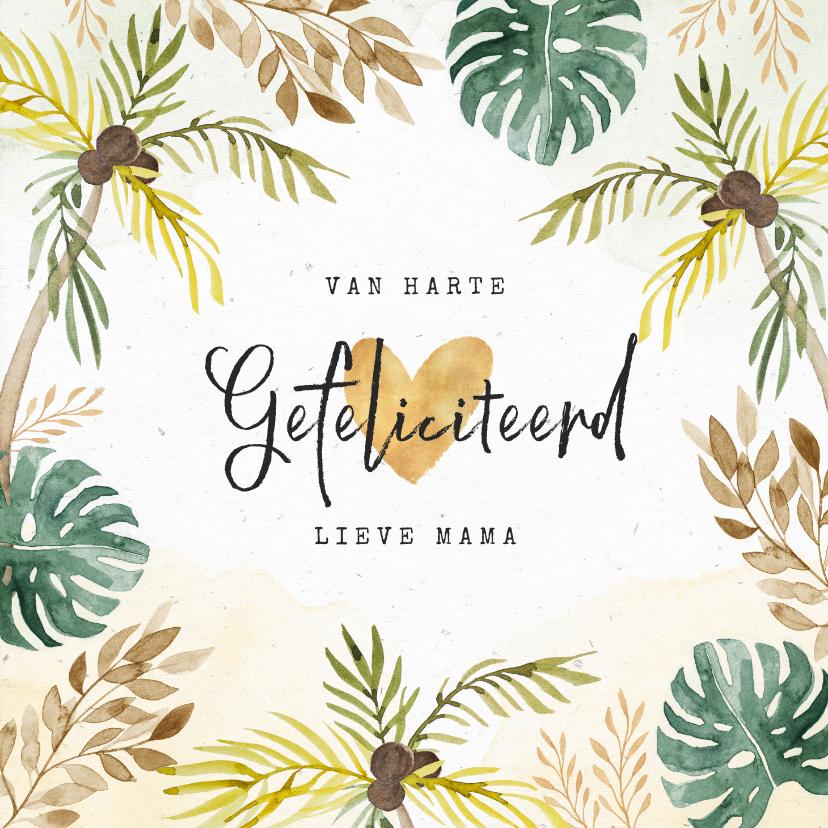 Verjaardagskaarten - Verjaardagskaart felicitatie jungle palmbomen botanisch