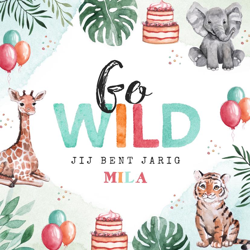 Verjaardagskaarten - Verjaardagskaart felicitatie kind waterverf dieren feest