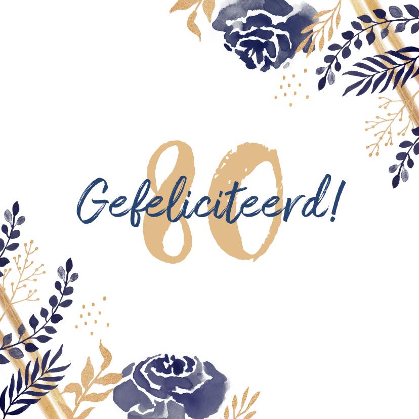 Verjaardagskaarten - Verjaardagskaart felicitatie stijlvol bloemen blauw goud