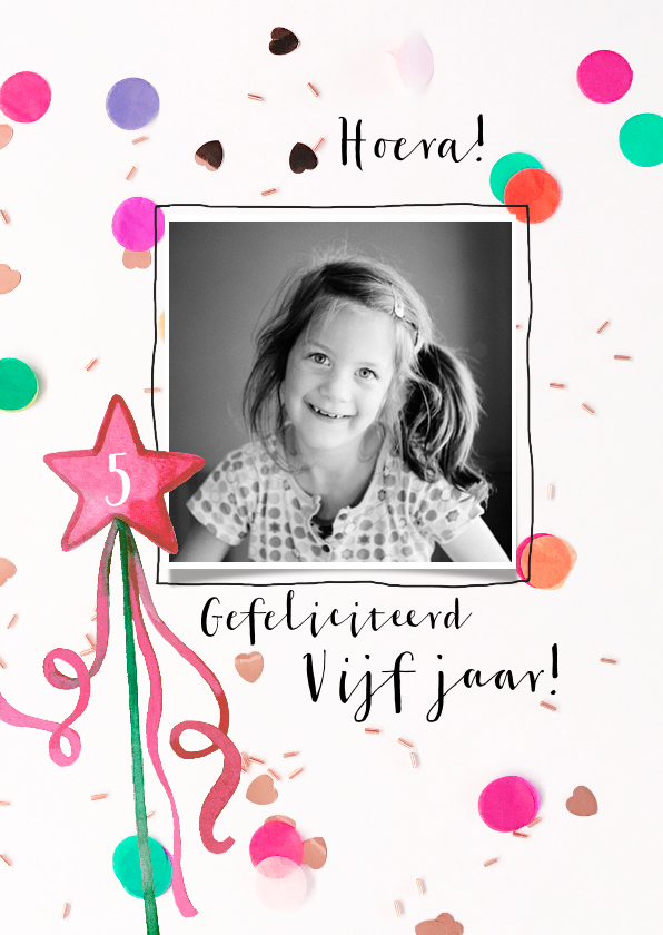 Verjaardagskaarten - Verjaardagskaart felicitatie toverstaf confetti