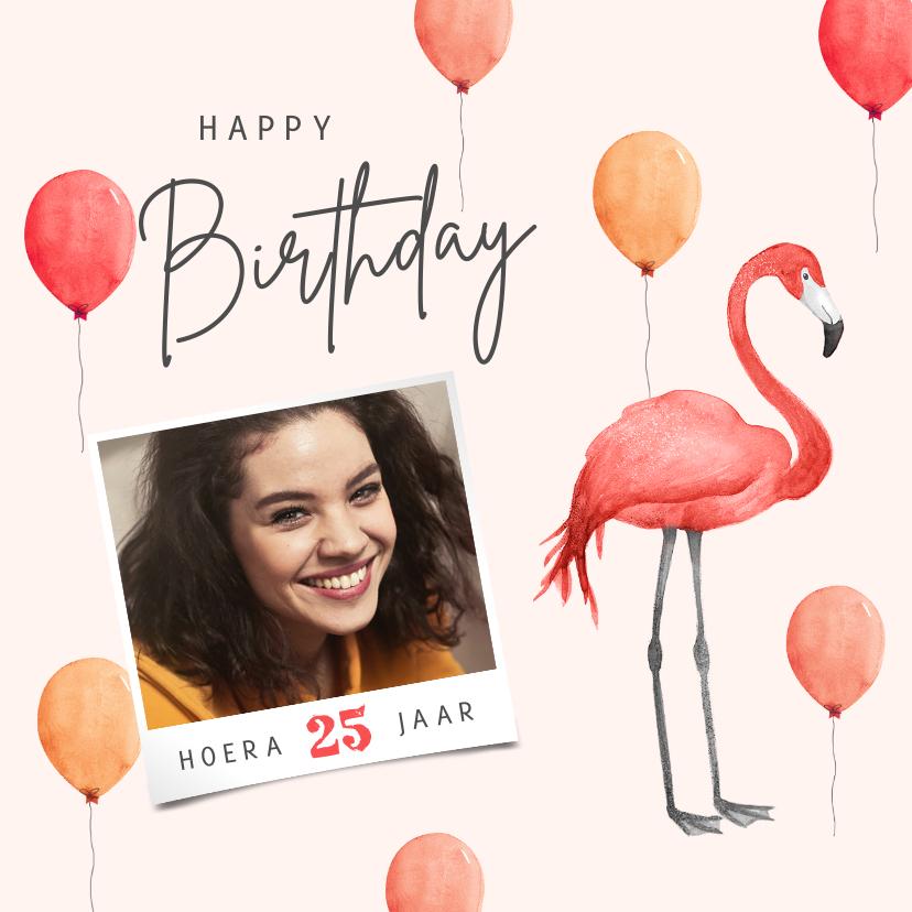 Verjaardagskaarten - Verjaardagskaart flamingo ballonnen roze foto