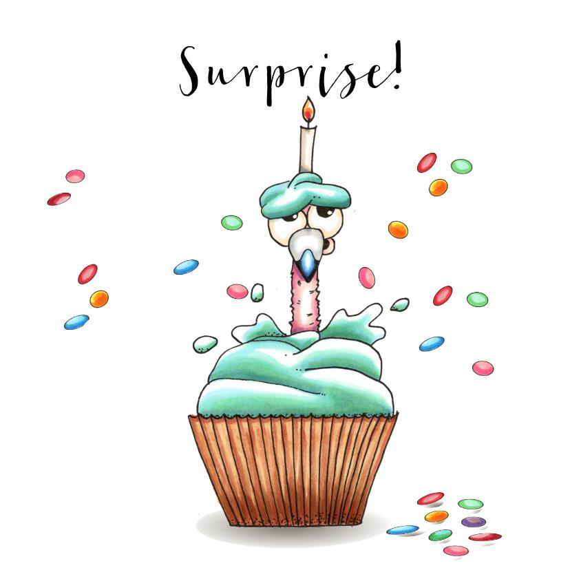 Verjaardagskaarten - Verjaardagskaart flamingo in cupcake