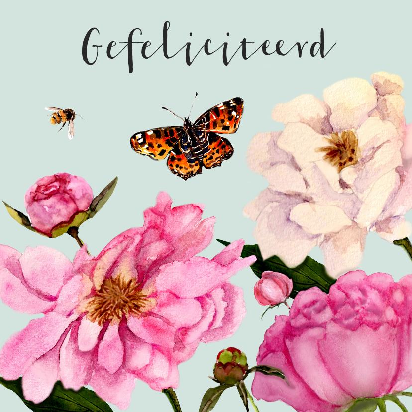 Verjaardagskaarten - Verjaardagskaart fleurige pioenrozen