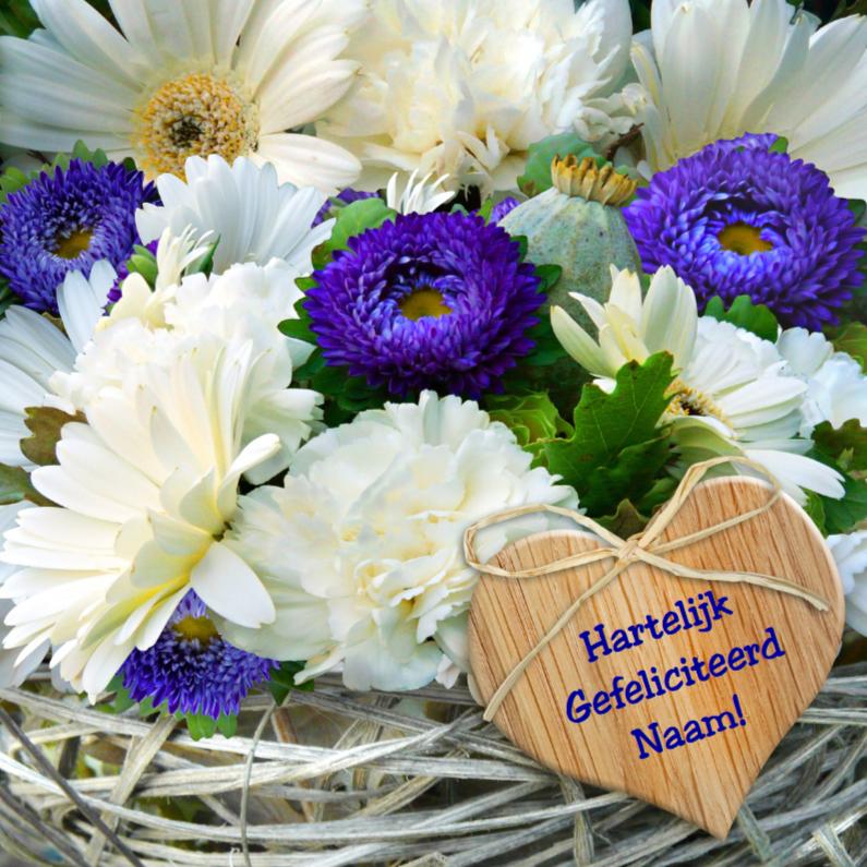 Verjaardagskaarten - Verjaardagskaart Foto bloemen en vlechtwerk met hartje